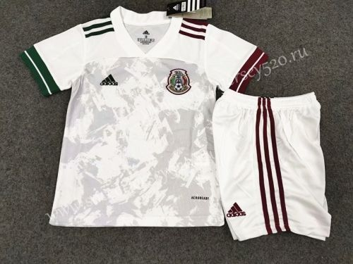 2020 2021 Mexico Away White Kid Youth Soccer Uniform In 2020 Soccer Uniforms Kids Suits Football Kits