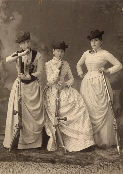 Corsets and rifles, ca. 1889. Via the Wisconsin Historical Society.