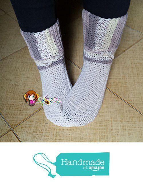Scarpe da notte uncinetto, calze da notte, crochet, christmas, natale, lana, acrilico, socks, white, bianco, multicolor, mix color, beige, adulto, unisex, calde. da Annarella Gioielli https://www.amazon.it/dp/B01LZKY130/ref=hnd_sw_r_pi_dp_TDO5xbMWCC69A #handmadeatamazon