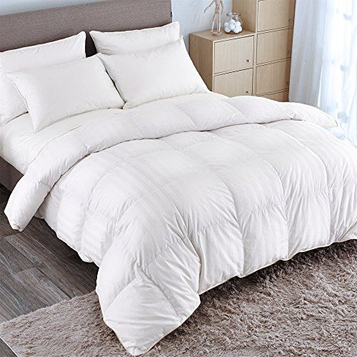 Puredown Goose Down Comforter 600 Fill Power Cotton Shell 500 Thread Count Stripe Fullqueen White Want Additi White Down Comforter Down Comforter Comforters