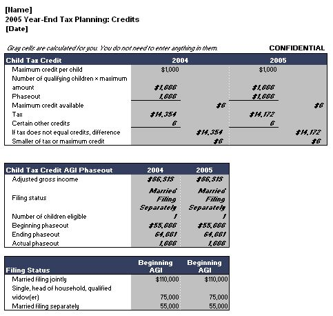 Year End Tax Planning Calculator Template  Microsoft Word