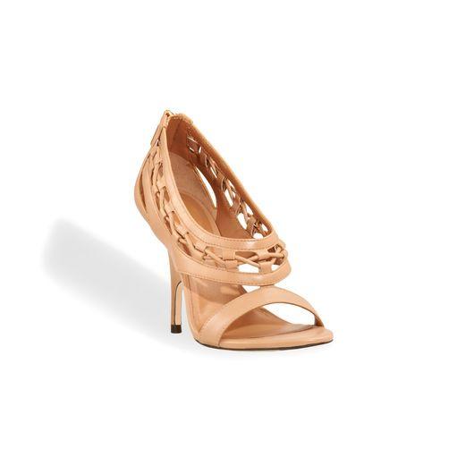 Wedge heel leather sandal.