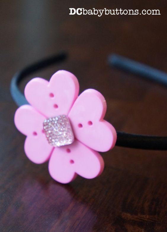Girls Pink Button Flower Headband | Pink Hearts Jewel Headband | Satin Covered Headband with Pink Button Flower and Jewel Center