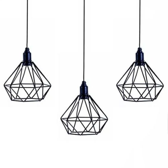 Kit com 03 Luminarias Pendente Aramado Modelo Diamante - Preto | MadeiraMadeira
