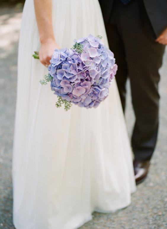 Backyard DIY wedding ideas #hydrangea #bouquet #blue