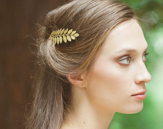 Gold Leaf Bobby Pin Leaf Hair Pin Leaf Hair Clip Bridal Hair Bobby Pin Bridal…