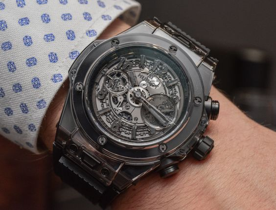 """Hublot Big Bang Unico Sapphire All Black Watch Hands-On - by Santiago Tejedor - More on this black beauty at: aBlogtoWatch.com - """"Watches can at times be difficult to explain, but that is a challenge we enjoy taking on daily. Still, we were quite gobsmacked when, at BaselWorld 2016, we first tried to wrap our minds around the idea of Hublot engineers painstakingly making a watch and its case perfectly transparent..."""""""