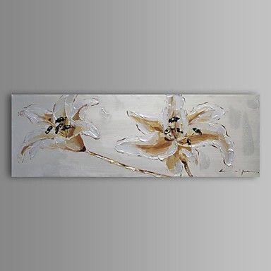 Peinture l 39 huile fleur abstraite moderne main toile avec - Tableau avec papier peint ...