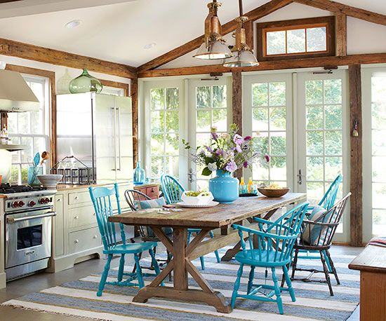 Vibrance and Variety create a fun family table! Love the blue chairs