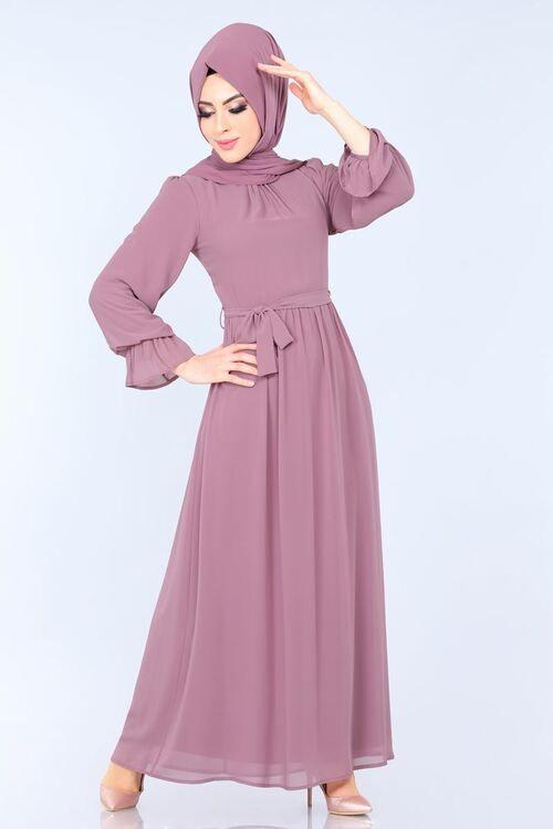 Modaselvim Elbise Kemerli Sifon Elbise 3996mb205 Gul Kurusu Sifon Elbise Elbise Elbise Modelleri
