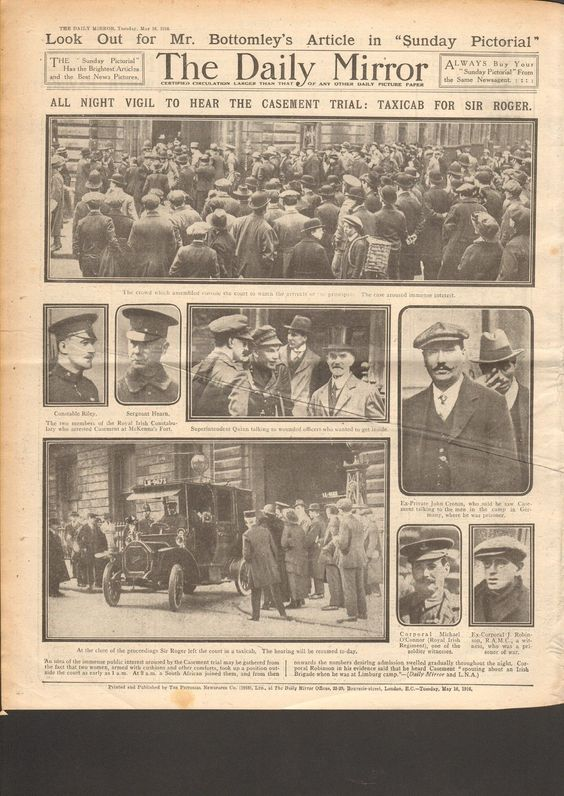 ORIGINAL NEWSPAPER FROM THE EASTER RISING 1916: SIR ROGER CASEMENT TRIAL