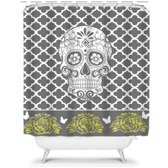 Sugar Skull Shower Curtain Gray Yellow Moroccan Quatrefoil Roses... ($59) ❤ liked on Polyvore featuring home, bed & bath, bath, shower curtains, bathroom, black, home & living, shower curtains & rings, butterfly shower curtains and yellow shower curtains
