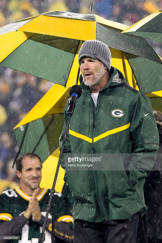 Brett Favre, former Green Bay Packers quarterback, speaks during the retirement ceremony for his #4 jersey at Lambeau Field on November 26, 2015 in Green Bay, Wisconsin.