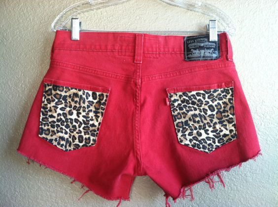 Red High Waisted Cheetah Pocket Levi's
