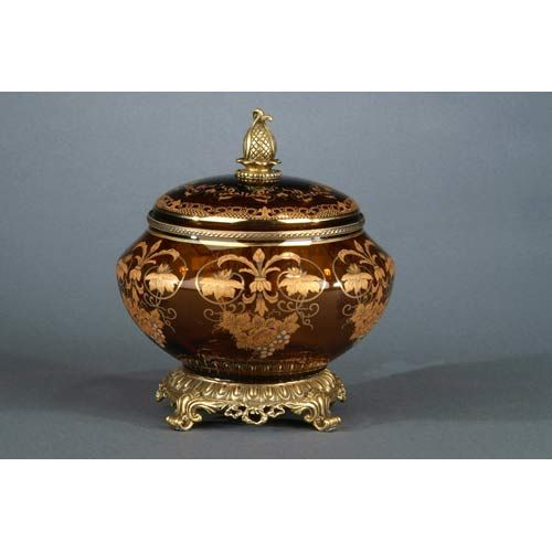 Amber glass box with gold accents elizabeth marshall boxes for Exquisite home decor
