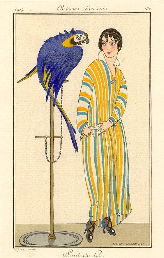 Gerda Wegener - This is an authentic, hand-coloured, signed pochoir fashion illustration (Plate 182)from the 1914 Journal des Dames et des Modes - a Parisian fashion journal published by Tom Antongini from June 1912 until August 1914.: