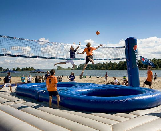Bossaball!  If you like volleyball, trampolines, and martial arts or gymnastics.. you'll LOVE this.
