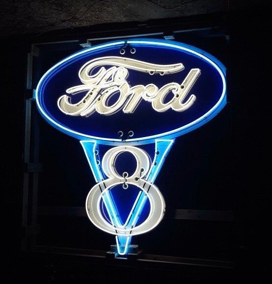 Ford V8 Hand Painted Neon Sign 8ft Ford Auto Ford Neon Signs
