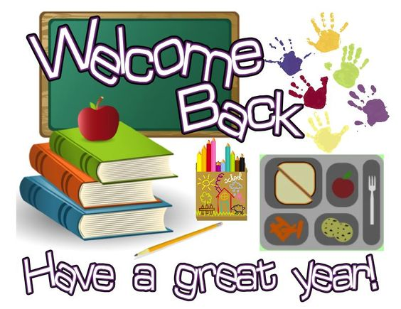 Welcome Back- Have a great year! Fun Back to School sign in chalkboard, books, school lunch and handprints design