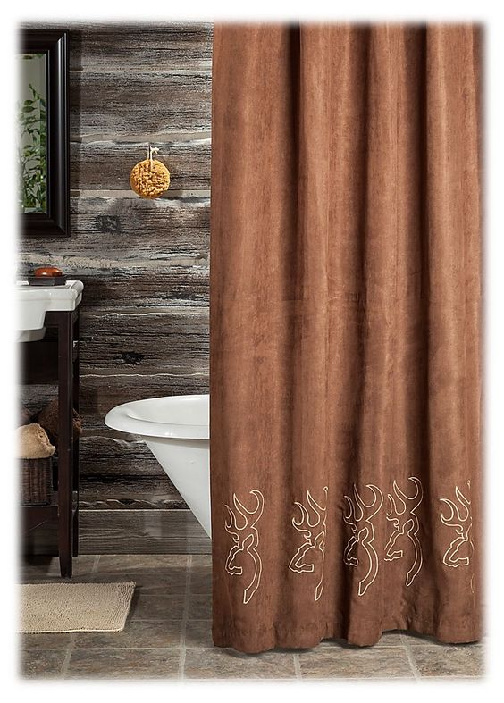 Browning® Buckmark Embroidered Suede Shower Curtain | Bass Pro ...