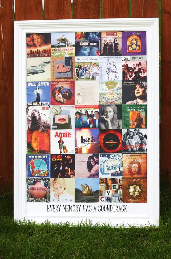"""Every memory has a soundtrack""  CD covers framed @Whitney Ward"