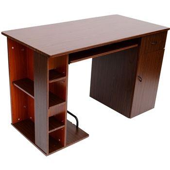 HomCom Small Home Office / Dorm Computer Desk - Dark Walnut / Golden Oak