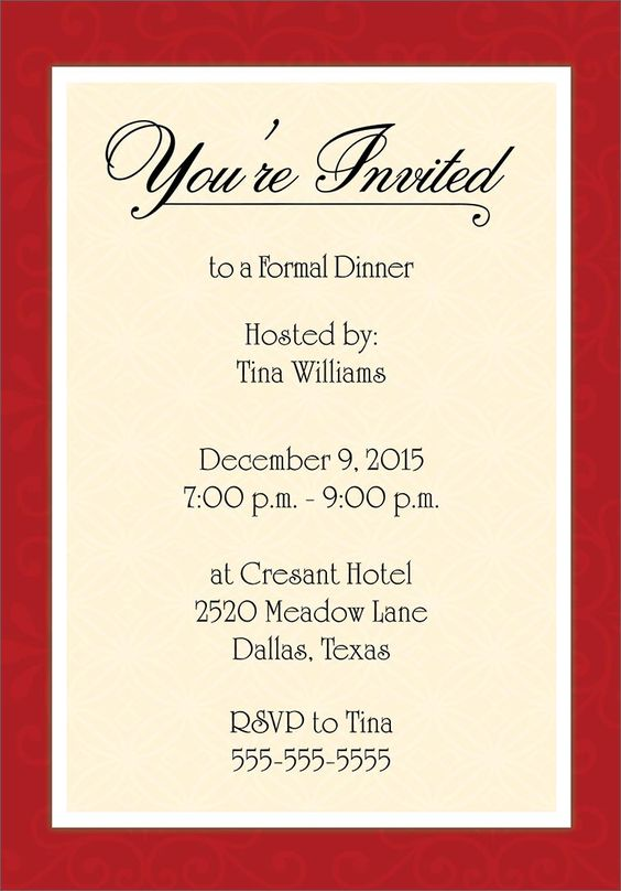... dinner party invitations birthday invitations formal birthday my