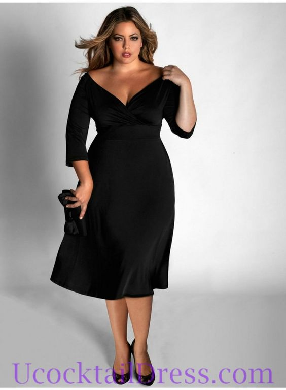 3 4 length cocktail dresses for plus