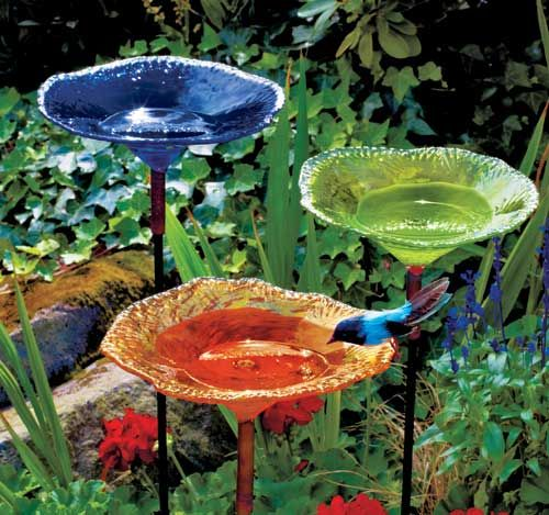 Wow, Would Love To Have These Blown Glass Birdbaths In My