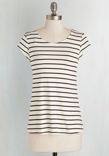 Slip into Simplicity Top. Crafting a cool and casual look is as easy as donning this ivory tee! #cream #modcloth