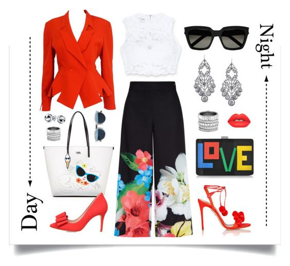 """""""Day to Night Spring Look"""" by christine-sacco ❤ liked on Polyvore featuring Bebe, Ted Baker, Aquazzura, Karl Lagerfeld, Les Petits Joueurs, KG Kurt Geiger, Thierry Mugler, Christian Dior, Bling Jewelry and Henri Bendel"""
