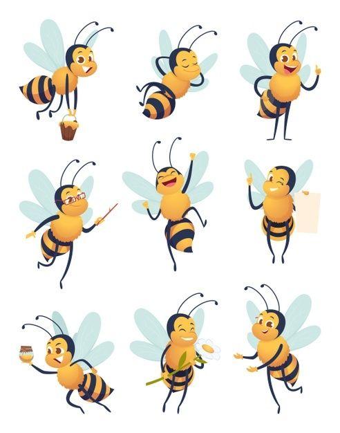 Abeille Personnage De Dessin Anime Volant Insecte Nature Dans Differentes Poses Mascotte De Vecteur D Abeille De Livraison Insecte Abeille Volante Mascotte P Dessin Anime Abeille Personnage Dessin Anime