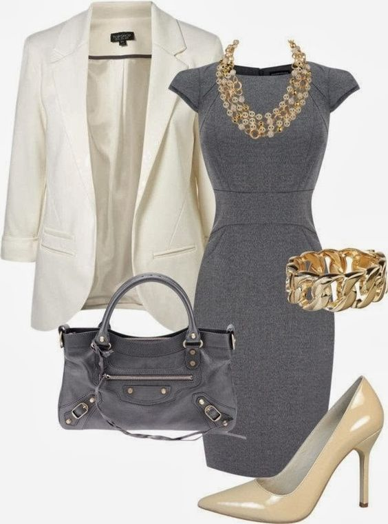 Gray Classic Work Dress | www.pinterest.com/versique/womens-office-fashion-attire-community-board/:
