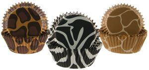 animal print cupcake papers