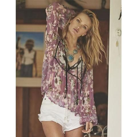 For the dawn treaders and the daydream believers... As one of our favorite Moonflower pieces, Auguste's Boho is Best Sheer Top is featured in a breathtaking plum hue. The sheer fabric is loose fitting
