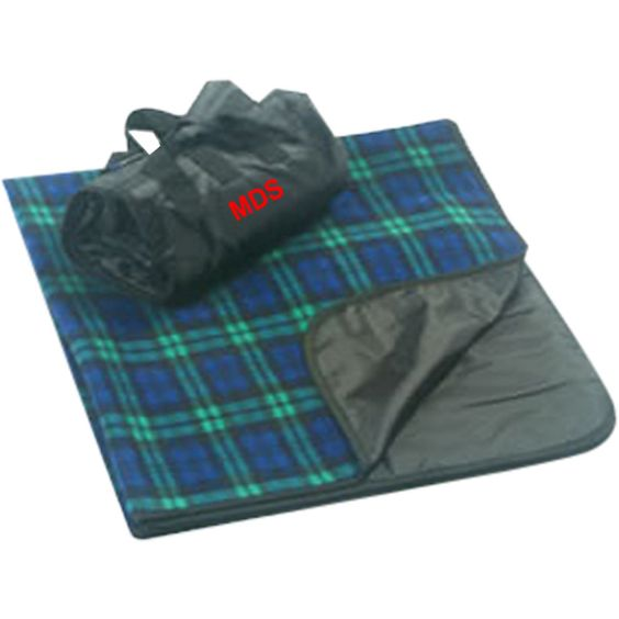 Featuring a classic plaid design, these waterproof picnic blankets with anti-pill finish are great for outdoor events! One side is made of soft, comfortable fleece, and the other side a waterproof polyester shell. Fabric: Polar fleece / polyester oxford. Trim: matching tricot binding. Featuring an easy carry design that unfolds into a full-sized picnic blanket, this item has a material weight of 260g/sqm. Don't forget a custom imprint!