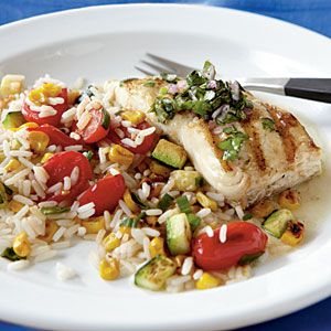 Pan-Grilled Halibut with Chimichurri Recipe: