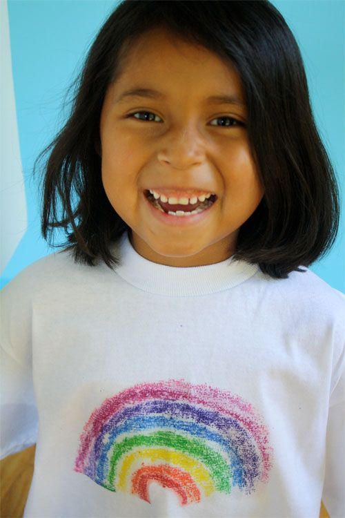 DIY tshirts for kids-- color on sandpaper, iron it on plain tee! How presh!