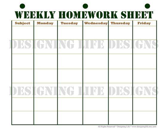 homework planner  schedule  and weekly homework sheet