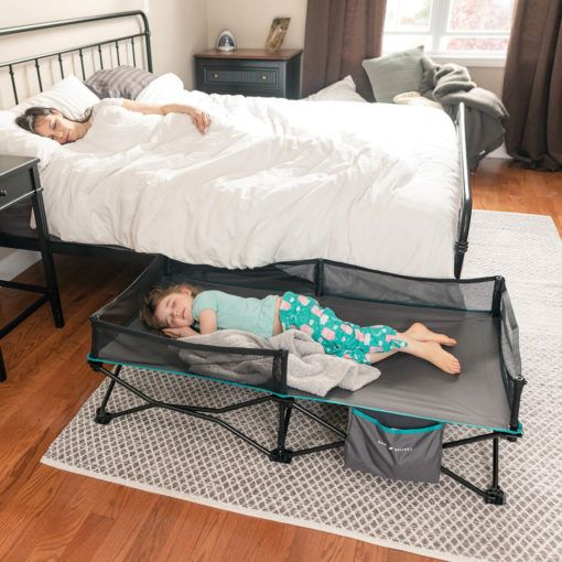 Go With Me Bungalow Deluxe Portable Travel Cot Grey Baby Delight Inc In 2020 Diy Toddler Bed Bed Rails For Toddlers Kids Camping Bed