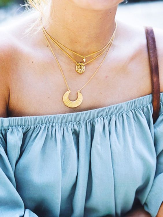 layered necklaces + off-the-shoulder blouse:
