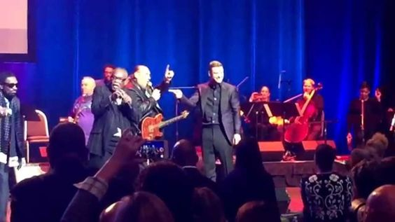 "Justin Timberlake and the legendary Sam Moore sing ""Sittin' On The Dock ..."