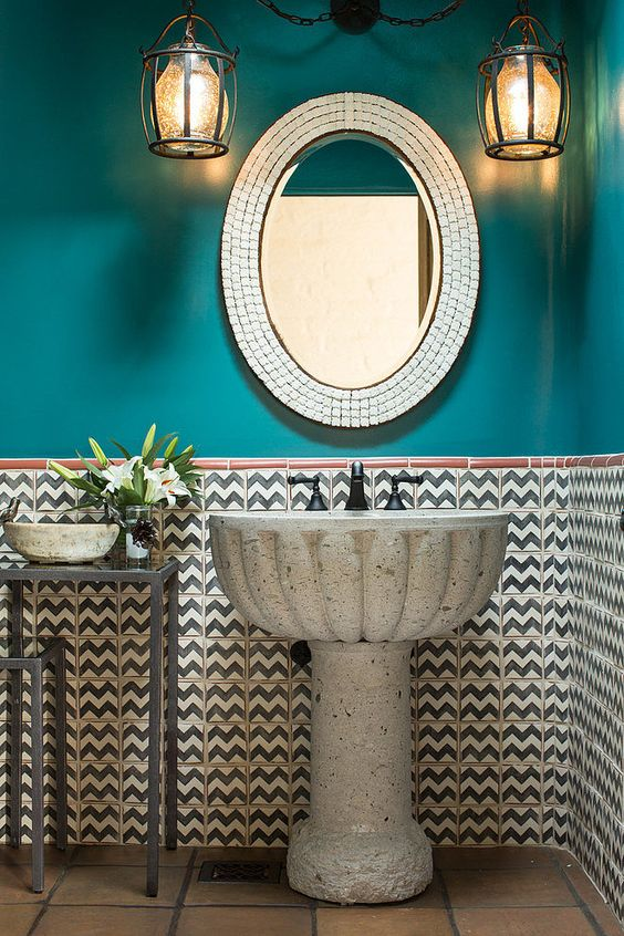 bathroom ideas. Lavamanos de cantera http://www.homeadore.com/2014/11/18/santa-fe-hacienda-chandler-prewitt-design/?utm_source=feedburner