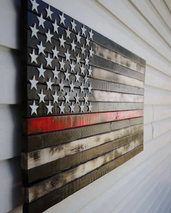 Now Available! Rustic Burnt Thin Red Line American Flag with Fire Hose stars…