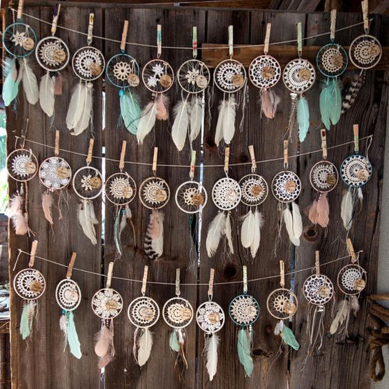 These custom boho dreamcatchers are perfect for gifts, house decor or your bohemian inspired wedding. They are available in a variety of crochet