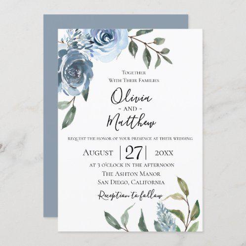 Blush Dusty And Navy Blue Floral Wedding Invitation Zazzle Com In 2021 Botanical Wedding Invitations Watercolor Wedding Invitations Wedding Invitations Rustic