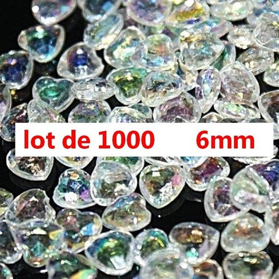 lot de 1000 coeurs iridiscents 6 mm decoration table mariage