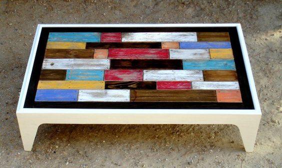 Table basse assemblage chromatique de bois de palettes / Colored Pallets Coffee…