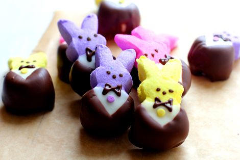 Peep bunnies in tuxes - dark and white choc chips, pastel sprinkle dot, microwave - must do!