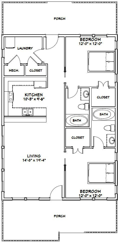 28x40 House 28x40h2a 1 120 Sq Ft Excellent Floor Plans Bedroom Floor Plans Tiny House Floor Plans Apartment Floor Plans